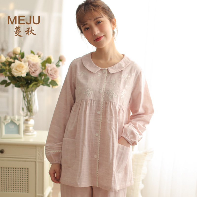 Meju 2019 Cotton Women's Summer Pajamas Long Sleeve Thin Gauze Set Pajamas Tracksuit
