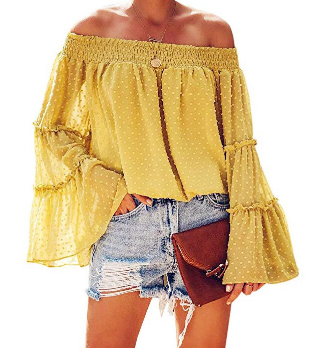 2019 Spring Chiffon Tops Women Blouses Ruffles Plus Sizes Befree Boho Flare Long Full Sleeve Sexy Lace Casual Embellished Shirts