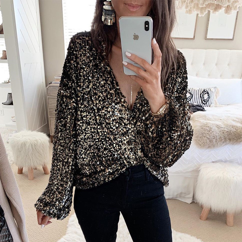 Long Sleeve Blouses For Women Sequins Glitter Black Clubwear Blouse Tops Sexy Tied Deep V-neck Streetwear Party Tops Fashion