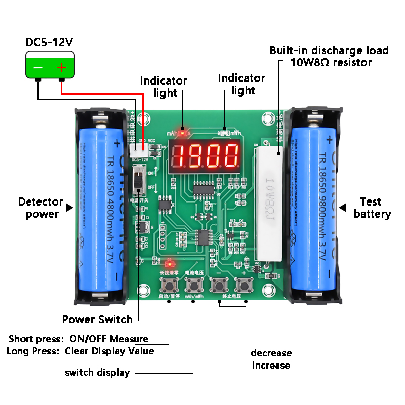 XH-M240 18650 Lithium Battery Capacity Tester MaH MwH Digital Discharge Electronic Load Battery Monitor
