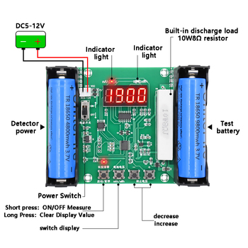 XH-M240 18650 lithium battery Capacity tester maH mwH digital discharge electronic load battery monitor цена 2017