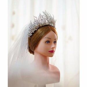 Image 3 - New Design Pearl Big Crown Wedding Tiara And Crown Gorgeous Black Wire Handmade Headband  Vintage Jewelry Bridal Headpiece