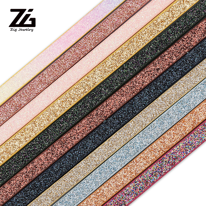 ZG 5MM Flat PU Shiny Gradient Color Leather Rope Handmade DIY Jewelry Accessories Fashion Jewelry Making Bracelet Material