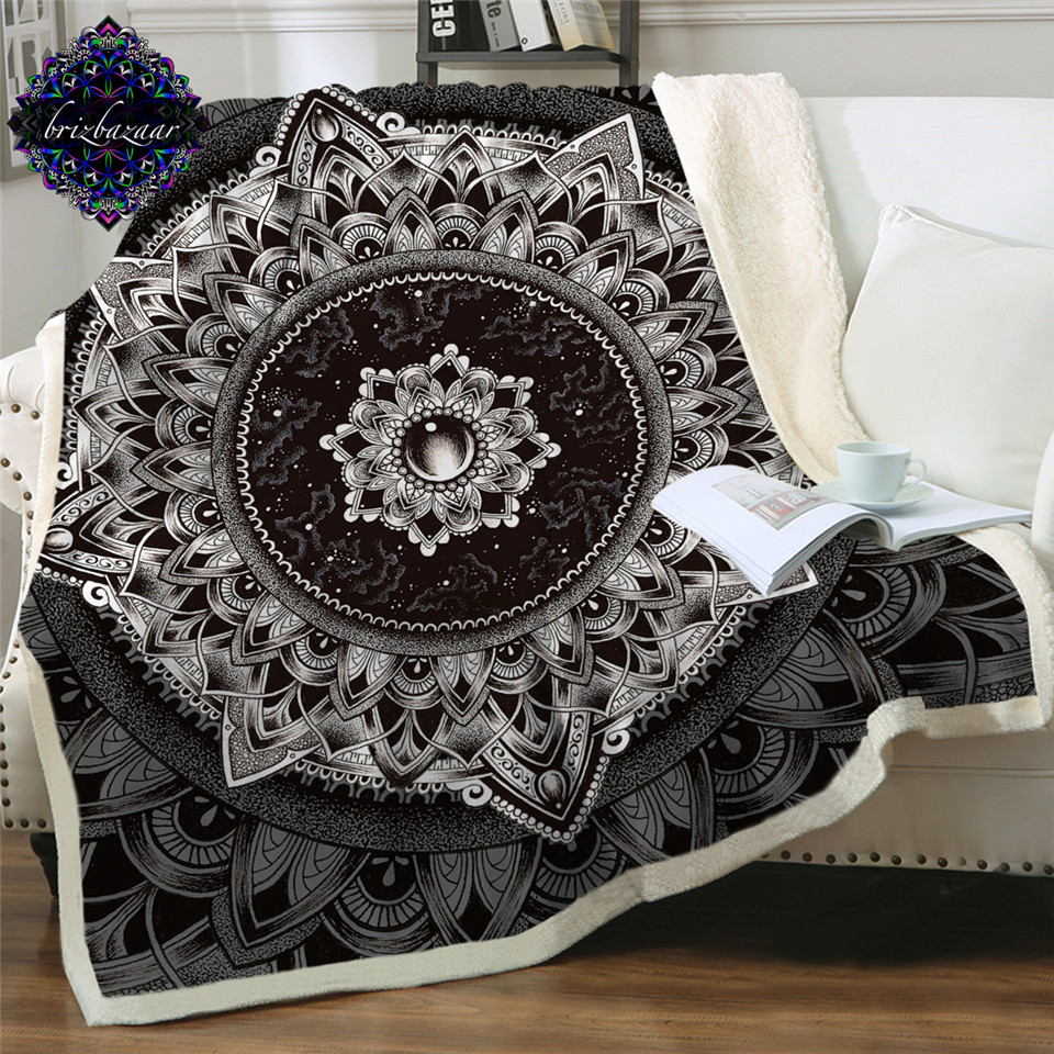 Mandala by Brizbazaar Bed Blanket Black White Flower Bedspread Mysterious Universe Sherpa Throw Blanket Gemstone Vintage Bedding(China)