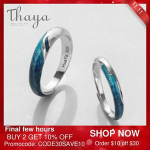 Image 1 - Thaya Bright Shining River Emerald Rings s925 Silver Circular Soft Blue Romantic Jewelry Ring for Women Elegant Simple Gift