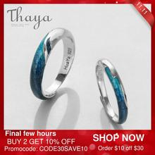 Thaya مشرق الساطع نهر الزمرد خواتم s925 فضة التعميم لينة الأزرق رومانسية خاتم مجوهرات للنساء أنيقة بسيطة هدية
