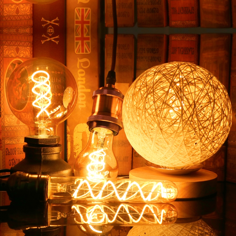 Retro Spiral Light LED Filament Bulb 220V A60 ST64 G125 G95 G80 T45 T185 Dimmable 4W 2200K Vintage Lamps For Decorative Lighting