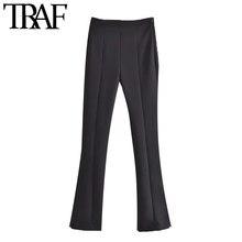 ONKOGENE Frauen Chic Mode Mit Seitenschlitze Flare Hosen Vintage Hohe Taille Seite Zipper Weibliche Hose Mujer