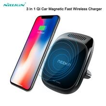 Qi Wireless Charger สำหรับ iPhone 11 Car สำหรับ Samsung S20 น้ำมันหอมระเหย 3 in 1 แม่เหล็กผู้ถือโทรศัพท์