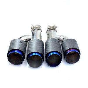 Image 3 - 1 H Phong Cách Bóng Carbon Thép Không Gỉ Đa Năng Dual Ống Thoát Khí Xanh Dương Cấp Đuôi Đầu Cho Bộ 3 Với remus Logo
