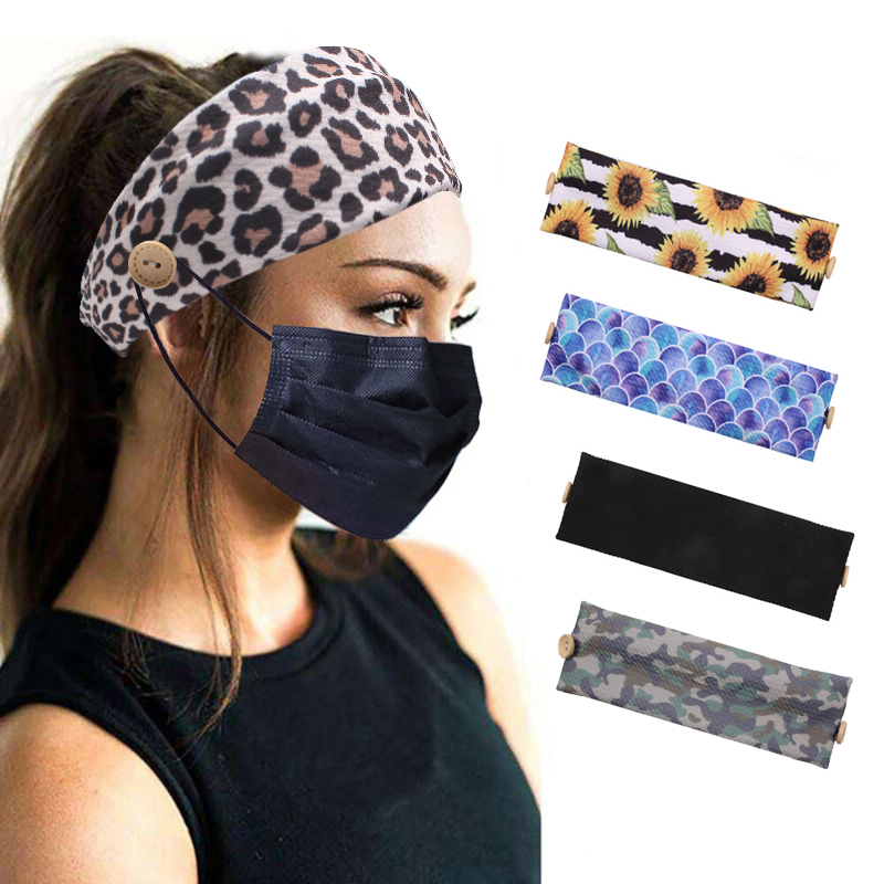 Women Man Button Headband With Buttons 2020 Fashion Facemask Holder Headbands Protect Ears Sports Hair Accessories Wholesale(China)