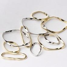 Breloques géométriques ovales dorées en alliage de Zinc, connecteur torsadé pour bricolage, pendentif de mode, accessoires de fabrication de bijoux, 10 pièces/lot