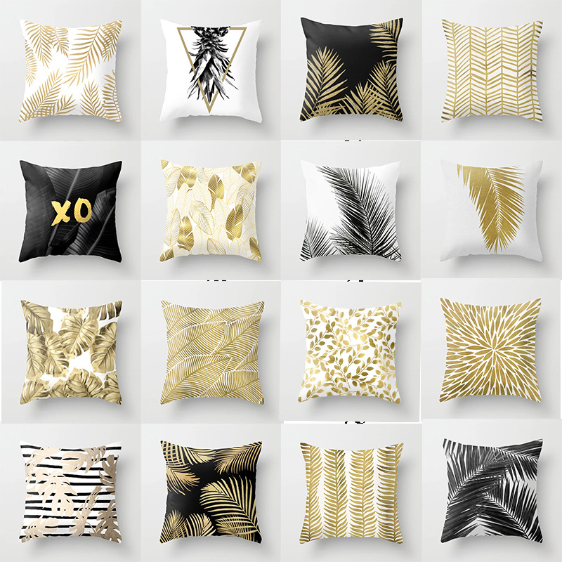 45*45cm Square Decorative Throw Pillow Case Nordic Style Gold Leaf Printed Polyester Pillowcase