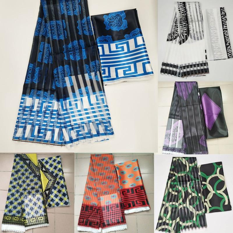Satin Organza tissu soie douce tissu africain matériel ankara imprime de haute qualité pour les femmes robe 4 + 2 yards! L112286
