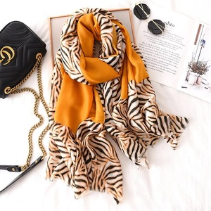 Image 4 - Luxury brand winter leopard silk scarf women Soft Pashminas shawls cotton scarves Sjaal muslim hijab animal print leopardo cape