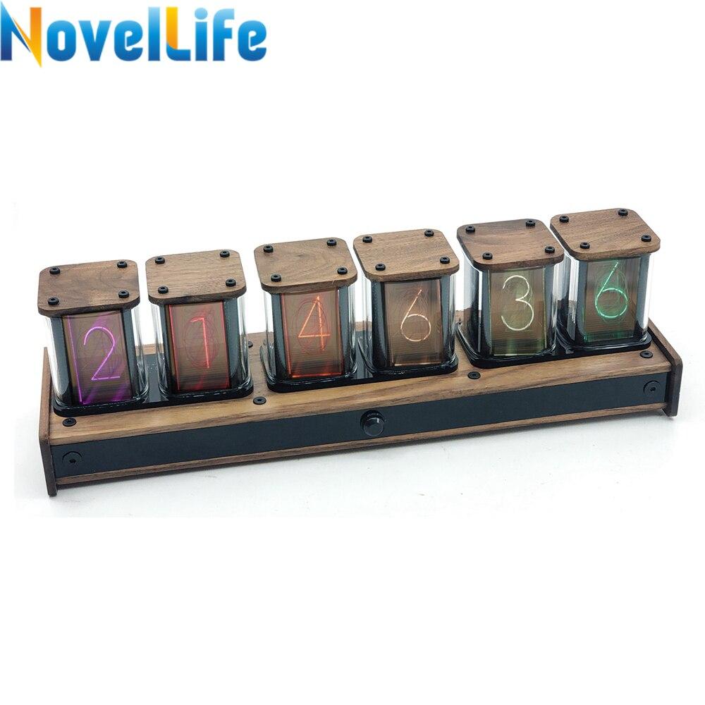 NovelLife цифровой будильник 6 бит RGB светодиодный светящийся Nixie дисплей времени трубки электрические настольные часы в стиле ретро PIR контроль движения электромобиль|Будильники|   | АлиЭкспресс