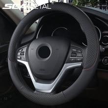 Uniwersalna osłona na kierownicę do samochodu na 37-38cm kierownica Faux Leather oddychający pokrowiec na koło samochodowe wnętrze akcesoria samochodowe