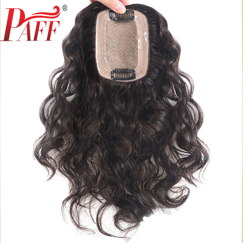 PAFF Peruvain Human Hair Toupee For Women 7*10 Lace With Silk Base Replacement System Loose Wave With Clips Cover White Hair