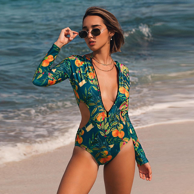 Print Floral One Piece Swimsuit Women Swimwear Monokini Long Sleeve Printed Female Bathing Suit Surfing Bodysuit Swim Wear Beach 5