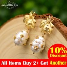GLSEEVO Original Design Natural Shell Beads Drop Earrings For Women Gift Bee Dangle Luxury Fine Jewlery GE0665