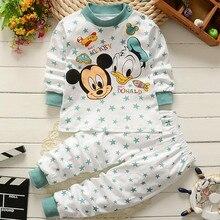 Комплект одежды для малышей от 0 до 2 лет, зимняя хлопковая одежда для новорожденных мальчиков и девочек детские пижамы из 2 предметов комплекты детской одежды унисекс