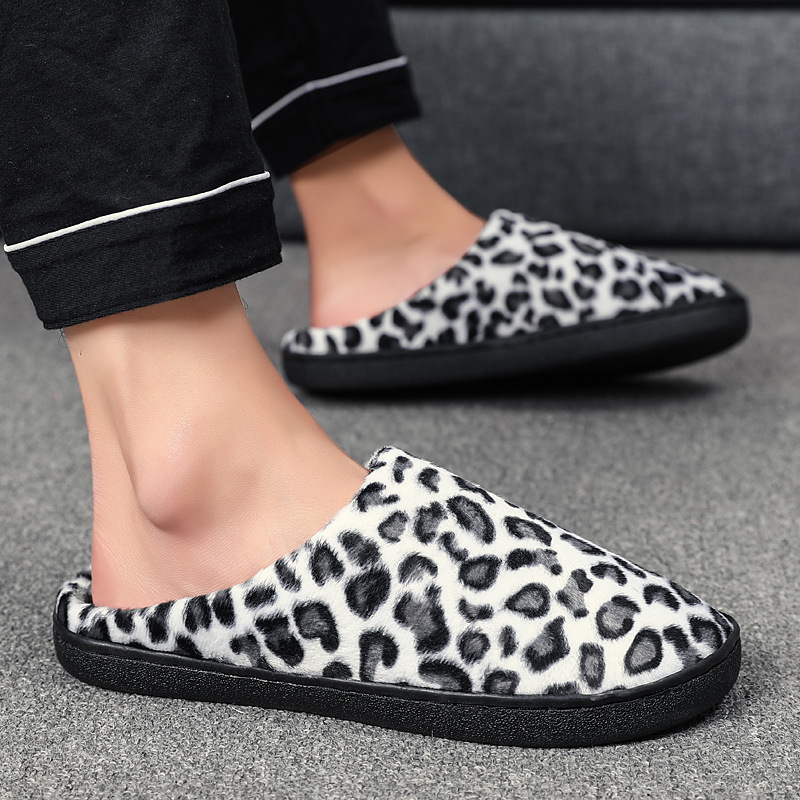 Women's Winter Shoes Plus Size 43-47 Fashion Leopard Suede Non Slip Home Slippers Women TPR Plush Warm Slippers Casual
