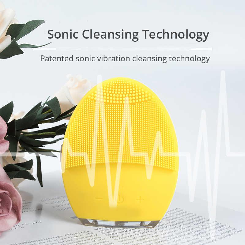 駆動洗顔ブラシソニックシリコーンクレンザー防水 USB 充電式スキンケアマッサージミニ 2 顔クリーニングブラシ