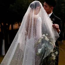 Can Cover face Pearl Veil One Layer Bridal Veils Cathedral 3 Meters White Ivory Wedding Veil Pearls Bride Wedding Accessories