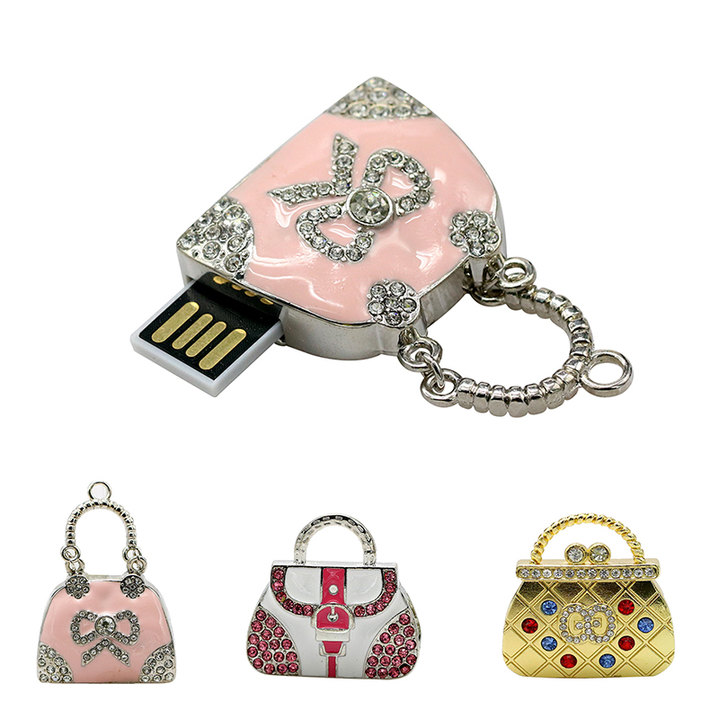 Metal Crystal Handbag Bag Mini Cute U Disk Pendrive 64GB 128GB 16GB 32GB Pen Drive Usb Stick 4GB 8GB Memoria Usb Key Flashdisk