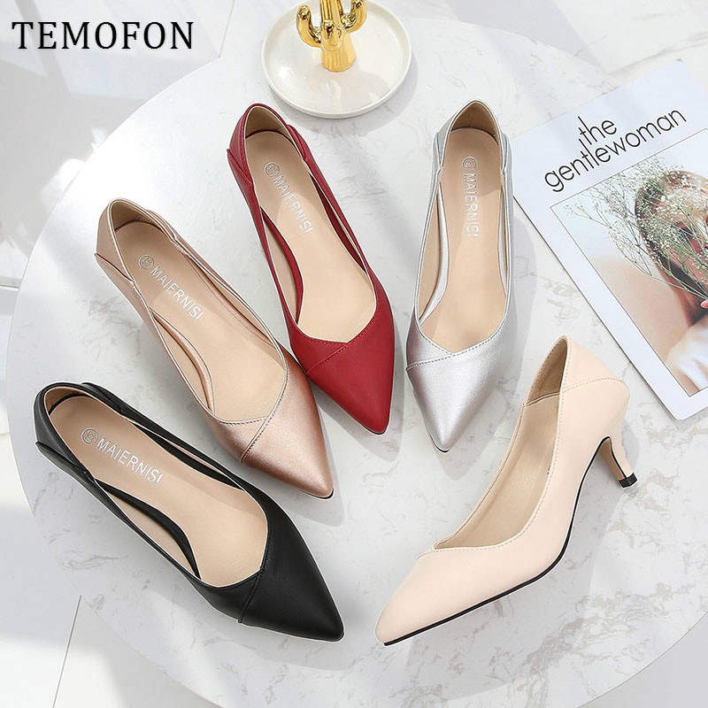 TEMOFON Pointed Toe Pumps Women Office&career Ladies Shoes Leather Thin Heel Large Size Women Shoes Silver Black Pumps HVT716