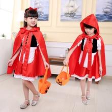 Детское платье в средневековом стиле с красной шапочкой для девочек карнавальные костюмы косплей на Рождество и Хэллоуин плащ с капюшоном одежда для выступлений