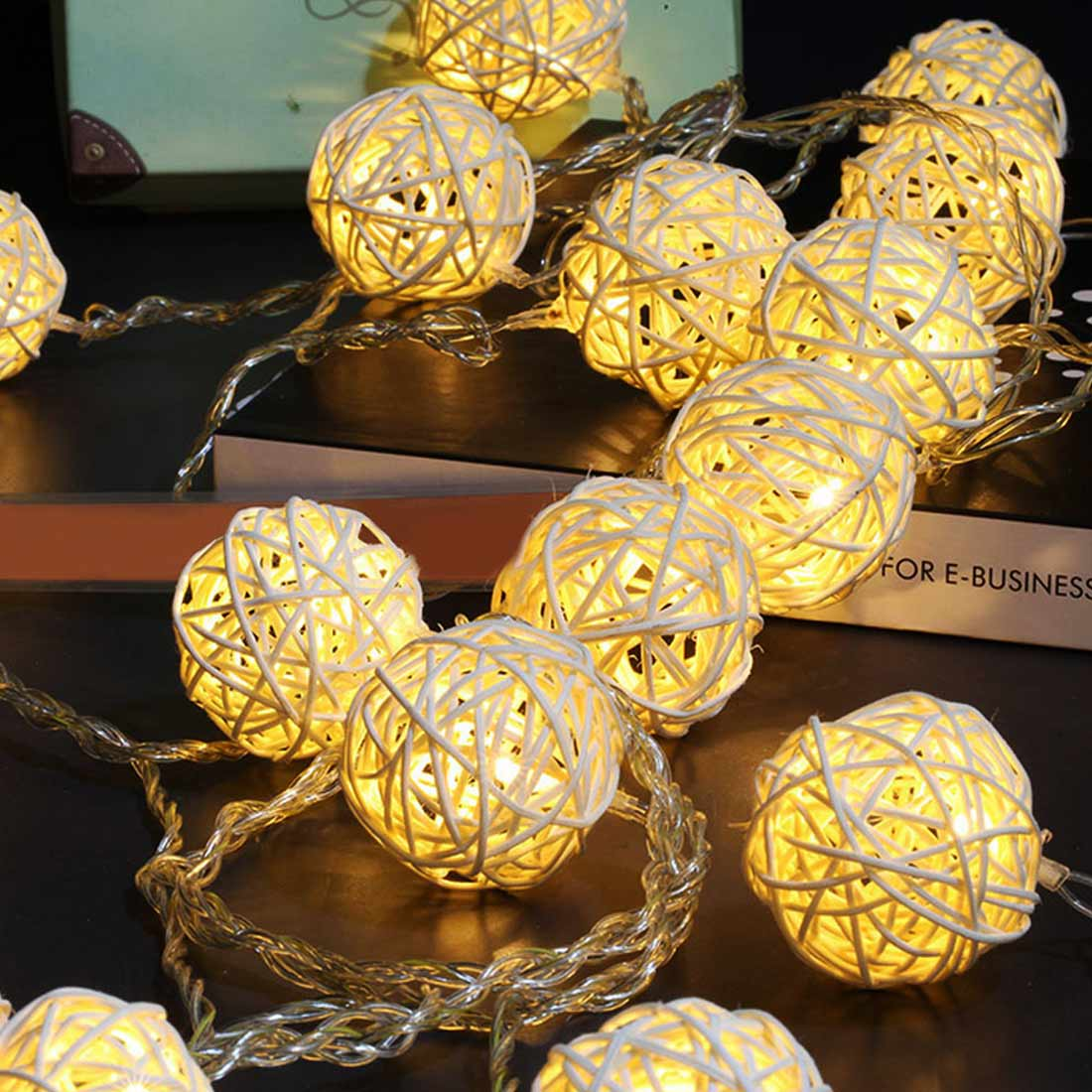 3M 20LEDs Rattan Ball Light LED String Christmas Wreath Wedding Room Fairy Tale Lights Decoration Holiday Party Lighting String