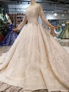 Image 4 - BGW HT43019 יוקרה חתונה שמלה עם ארוך רכבת תחרה נצנצים מבריק בעבודת יד חתונה שמלת ארוך שרוולים מוסלמי שמלה
