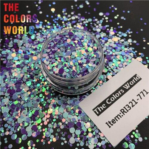 TCT-363 круглая точка микс Русалка жемчуг блеск для ногтей художественное украшение Смола Искусство на тумблеры и формы ремесло аксессуары фестиваль - Цвет: RI321-771   50g