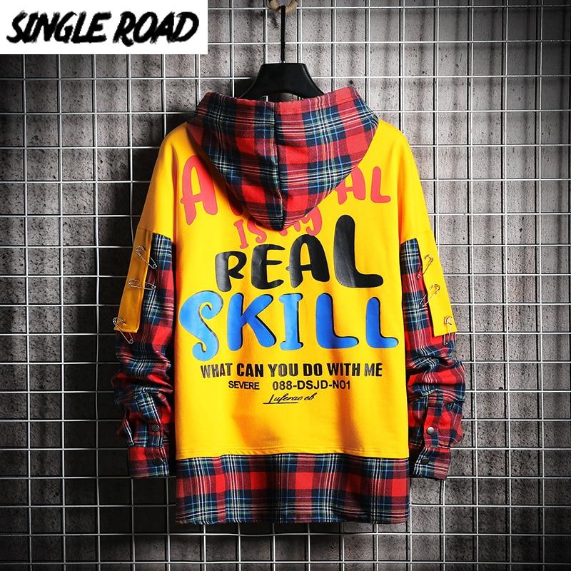 SingleRoad Mens Hoodies Men 2020 Fashion Plaid Oversized Hip Hop Harajuku Japanese Streetwear Yellow Sweatshirt Male Hoodie Men
