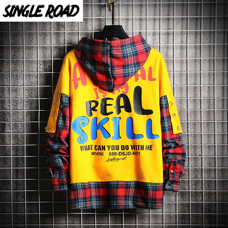 SingleRoad Mens Hoodies Men 2020 Fashion Plaid Oversized Hip Hop Harajuku Japanese Streetwear Yellow Sweatshirt Male Hoodie Men