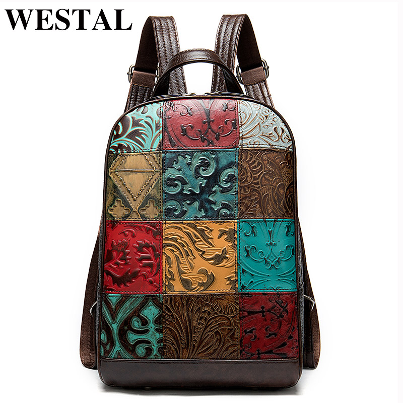 WESTAL Colorful Women Backpack for Laptop Leather Backpack Women Notebook Mochila School Bag for Girls Travel Backpacks female