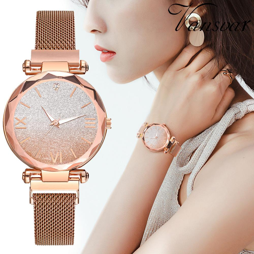 Top Brand Luxury Watches Women Magnetic Stainless Steel Strap Retro Roman Numerals Dial Ladies Relogio Feminino Starry Sky Clock