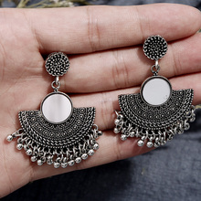 Fashion Charm Metal Tassel Dangle Earrings Oversize Pendientes Long For Women Drop Earring Ethnic Indian Jewelry