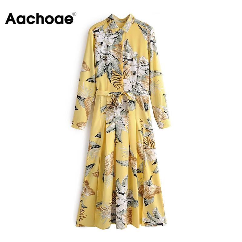 Women Stylish Elegant Floral Print Dresses Long Sleeve Sashes Bohemian Yellow Dress Turn Down Collar Office Ladies Shirt Dress