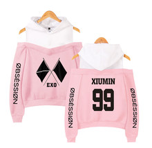 Kpop EXO New Album OBSESSION Design Women Hoodies Hoody Sweatshirt Strapless Girl K-Pop Streetwear Patchwork Fleece Clothing(China)