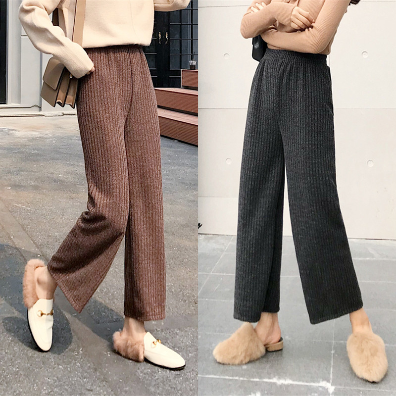 Women Knitting   Wide     Leg     Pant   2019 Autumn Winter New Fashion Female Casual Trousers Pleated   Pant   Loose High Waist Knitted   Pant
