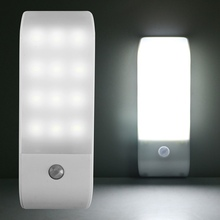 Rechargeable Motion Sensor Light 12 LED Activated Auto On/Off Night Wall for Hallway Bedroom Kitchen