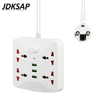 USB Power Strip Socket EU Plug Adapter Socket-2M Extension Cable Wall Charger Adapter USB Power Strip Charger
