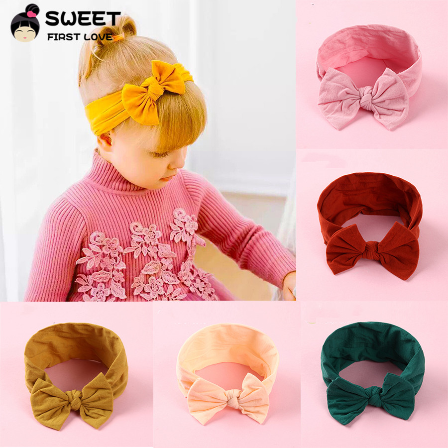 Baby Hairband Bunny Rabbit Bowknot Turban Nylon Headband Elastic Hair Band New~