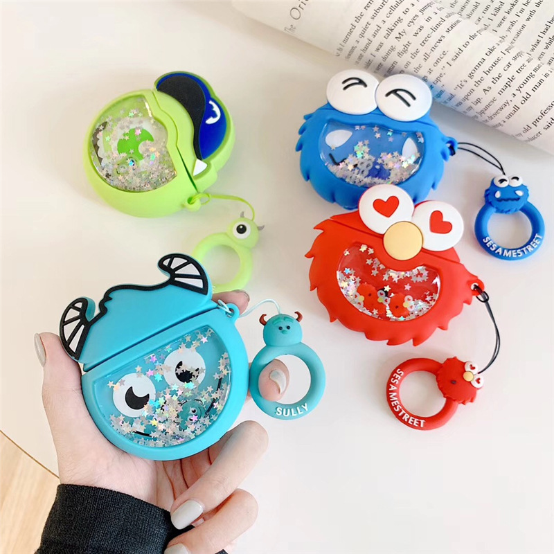 Cartoon Case For AirPods Cover Silicone Bluetooth Earphone Protective Case For Airpods 2 Cute Finger Ring Strap Sesame Street