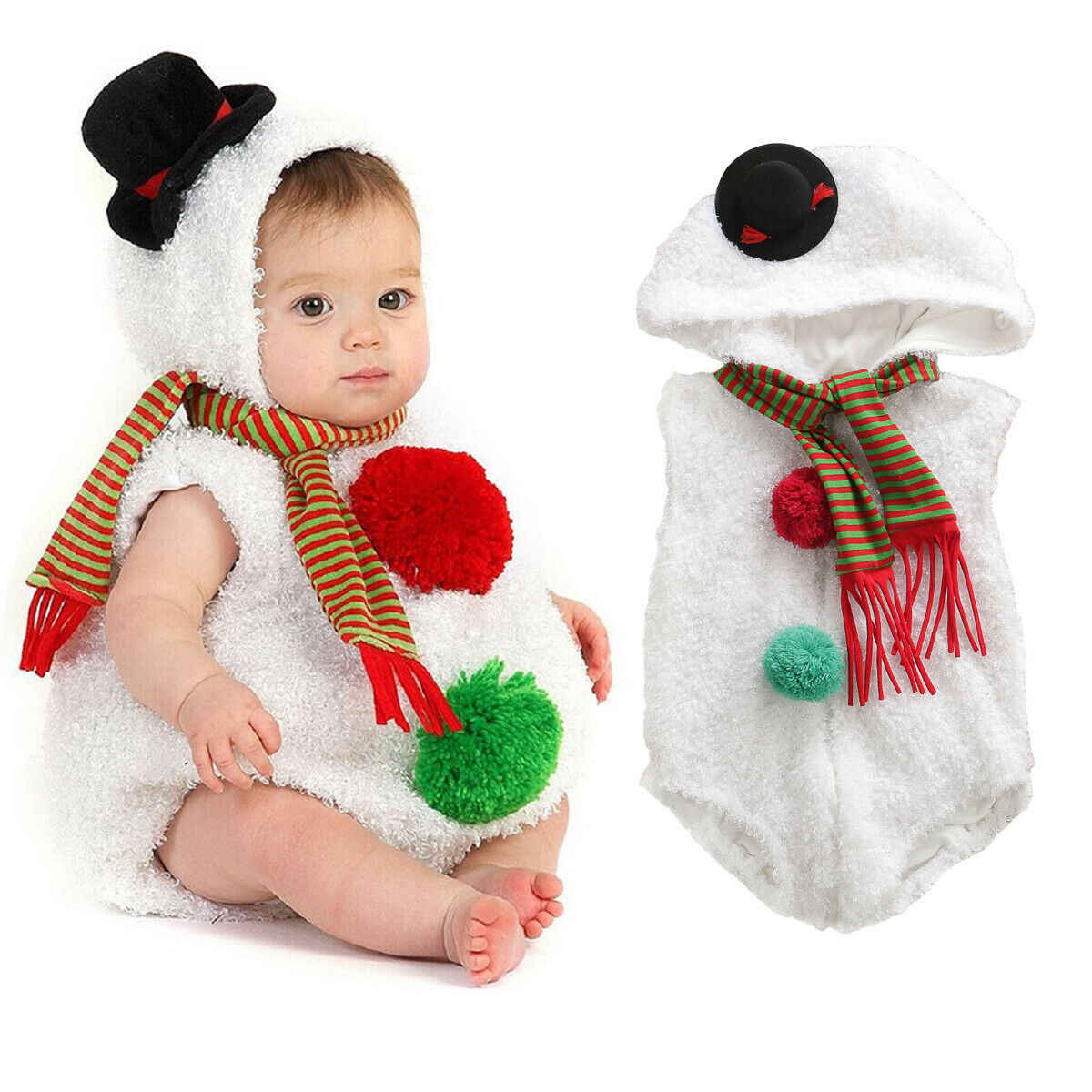 Xmas infant baby snowman jumpsuit sleeveless zipper comfortable hoodie warm Christmas playsuit newborn baby clothes