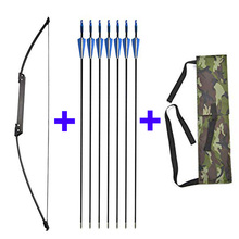 1 Set Recurve Bow and Arrows 35-40lbs Straight 6pcs Fiberglass Hunting Beginner Shooting And Arrow Accessories