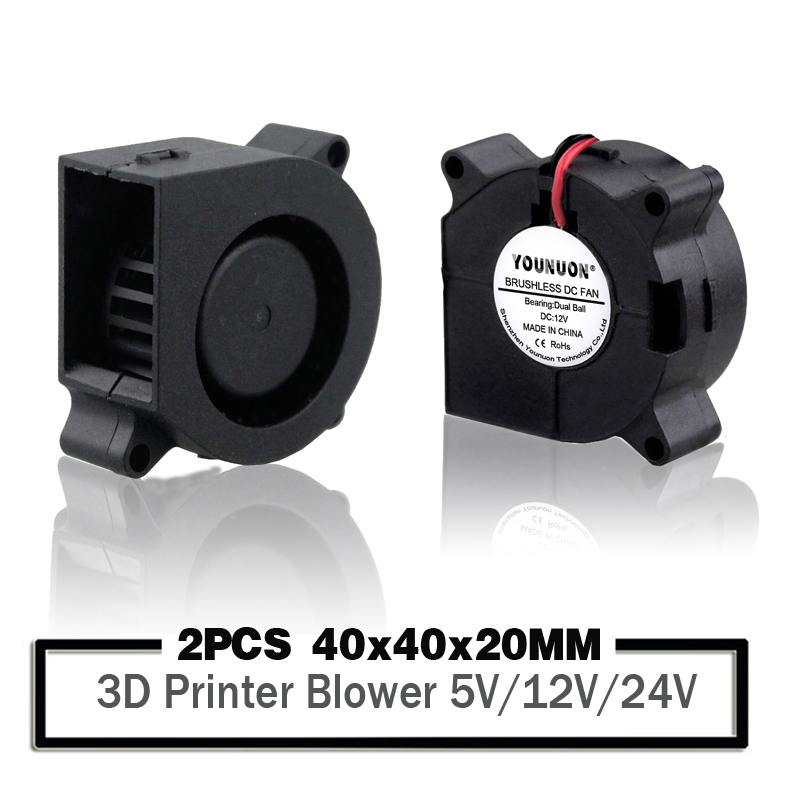 2PCS YOUNUON 3D Printer <font><b>Fan</b></font> 40mm 4020 Turbo Blower 24V 12V <font><b>5V</b></font> Ball Bearing Cooling <font><b>Fan</b></font> 40mm x 40mm x <font><b>20mm</b></font> for 3D Printer image
