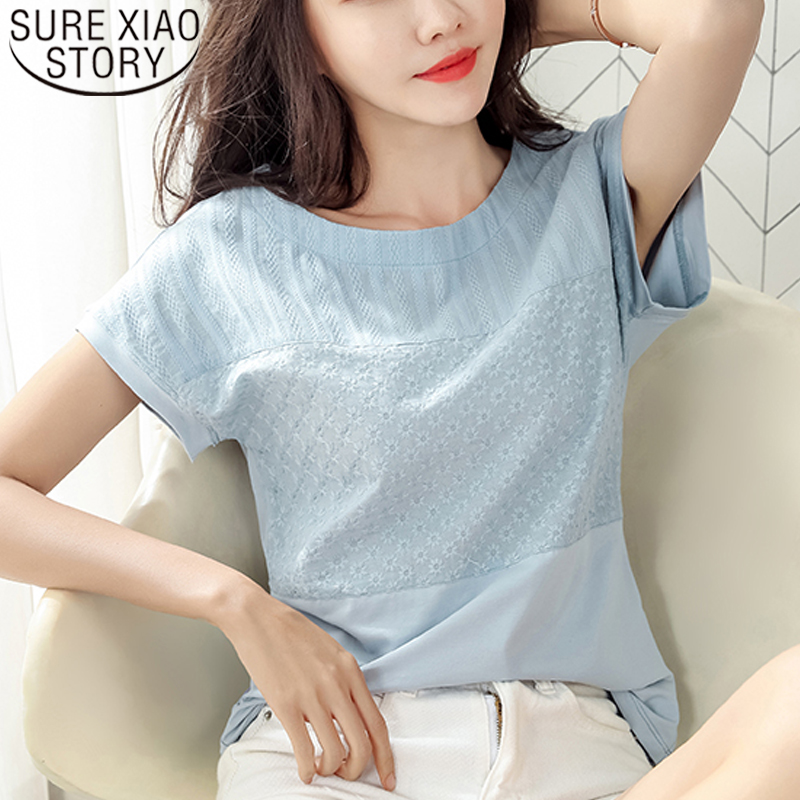 Ladies Cotton Plus Size Pullover t-Shirt Tops Womens Summer Bat Sleeve Pure Color Loose Slim Casual Tee Blouse